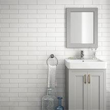 Westbury Rustic Metro Wall Tiles - White - 30 x 10cm Medium Image