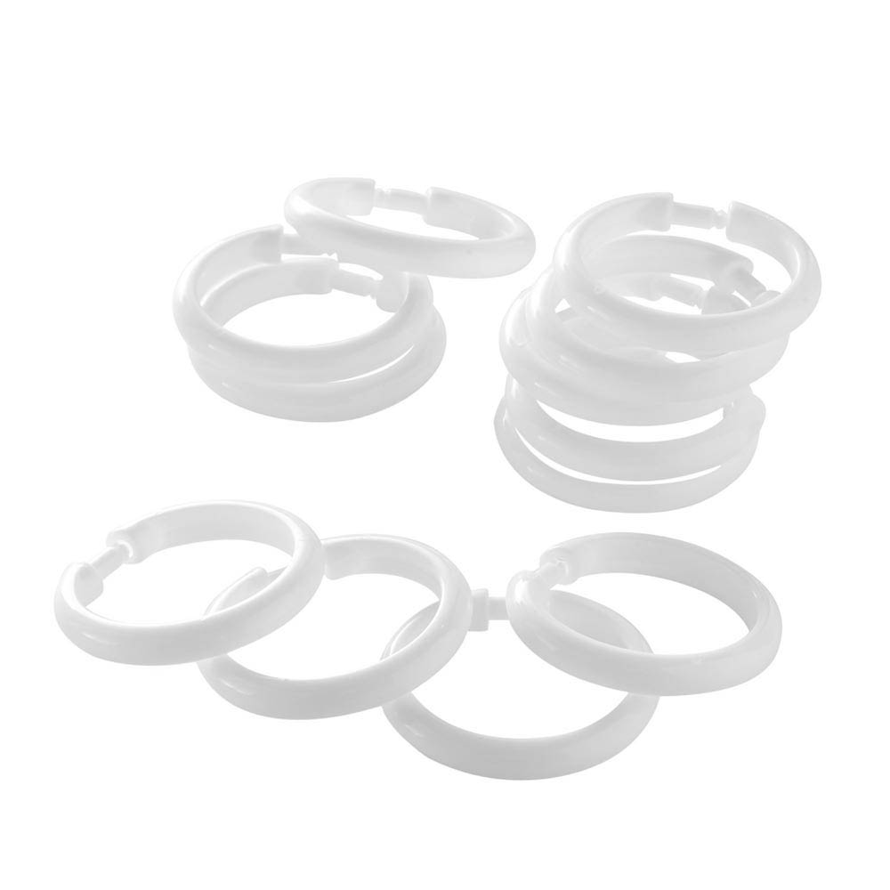 12 White Round Shower Curtain Rings profile large image view 2
