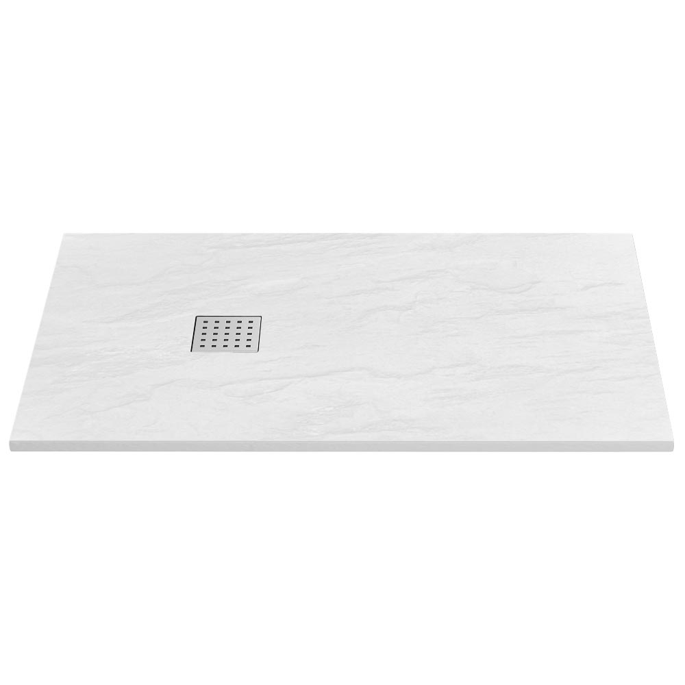 Imperia White Slate Effect Rectangular Shower Tray 1400 x 800mm Inc. Chrome Waste profile large image view 1