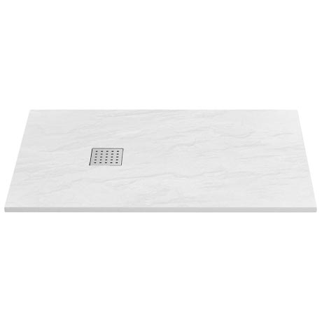 Imperia White Slate Effect Rectangular Shower Tray 1600 x 900mm Inc. Chrome Waste