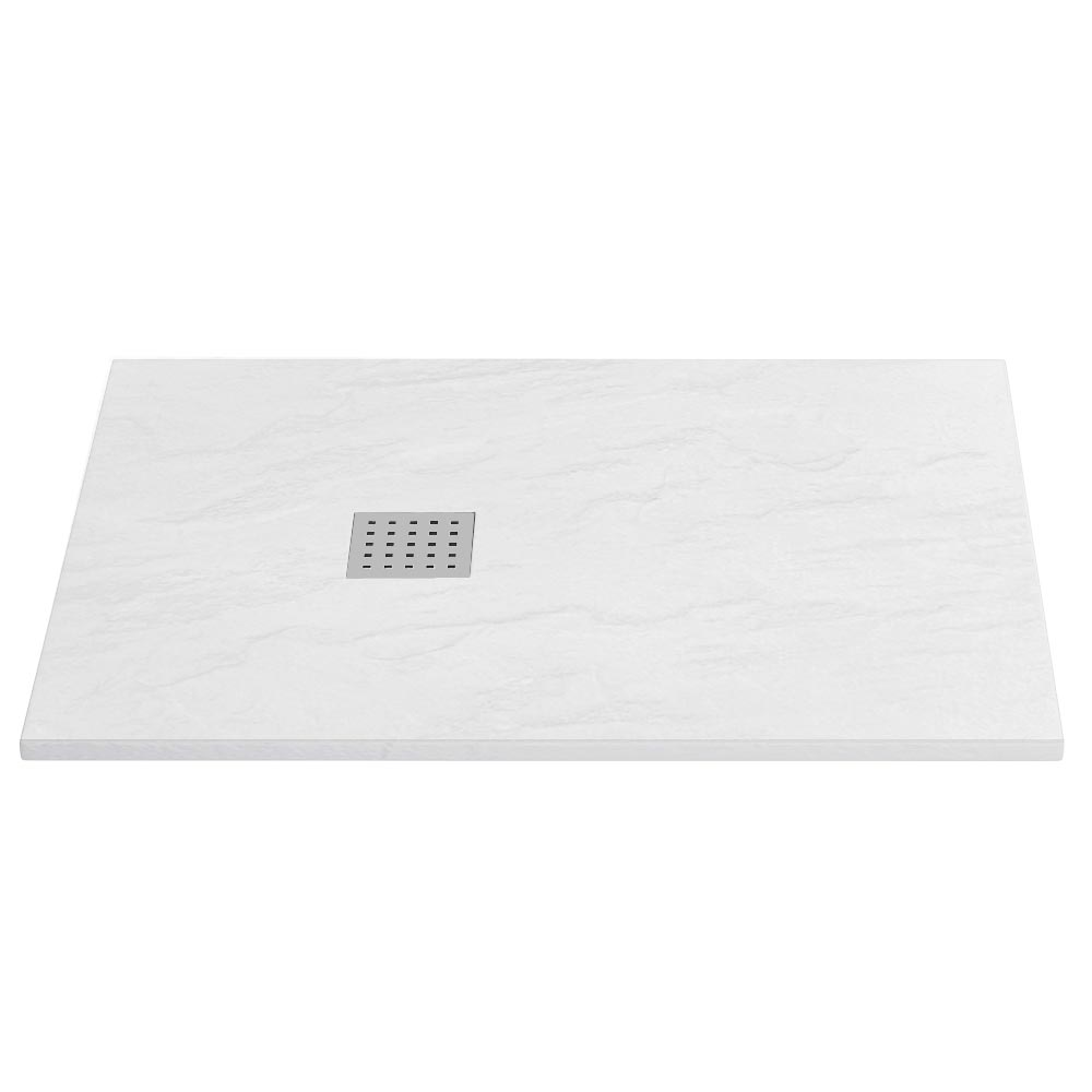 Imperia White Slate Effect Rectangular Shower Tray 1200 x 800mm Inc. Chrome Waste profile large image view 1