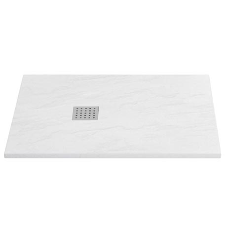 Imperia White Slate Effect Rectangular Shower Tray 1200 x 800mm Inc. Chrome Waste