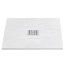 Imperia White Slate Effect Square Shower Tray 800 x 800mm Inc. Chrome Waste Medium Image