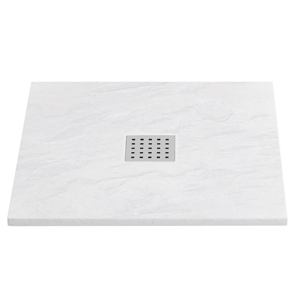Imperia White Slate Effect Square Shower Tray 900 x 900mm Inc. Chrome Waste profile large image view 1