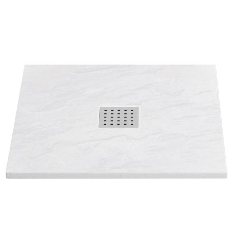 Imperia White Slate Effect Square Shower Tray 900 x 900mm Inc. Chrome Waste