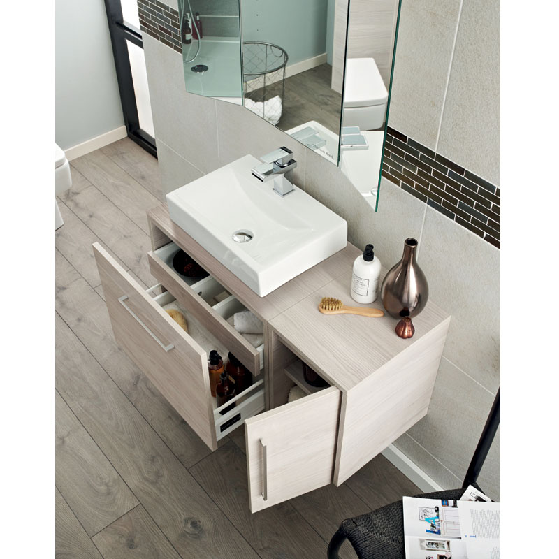 Hudson Reed - Horizon 300mm 1 Door Cupboard Unit - White Sawn Oak - CAB374 profile large image view 2
