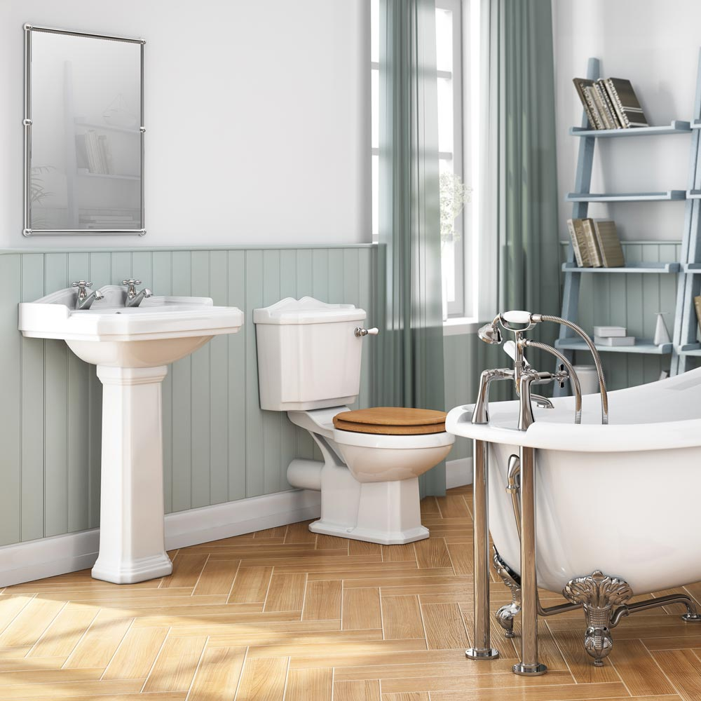 Winchester Close Coupled Traditional Toilet with Beech Toilet Seat profile large image view 4