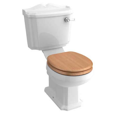 Winchester Close Coupled Traditional Toilet with Beech Toilet Seat