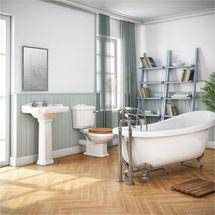 Winchester Traditional Free Standing Roll Top Slipper Bathroom Suite (1550mm) Medium Image