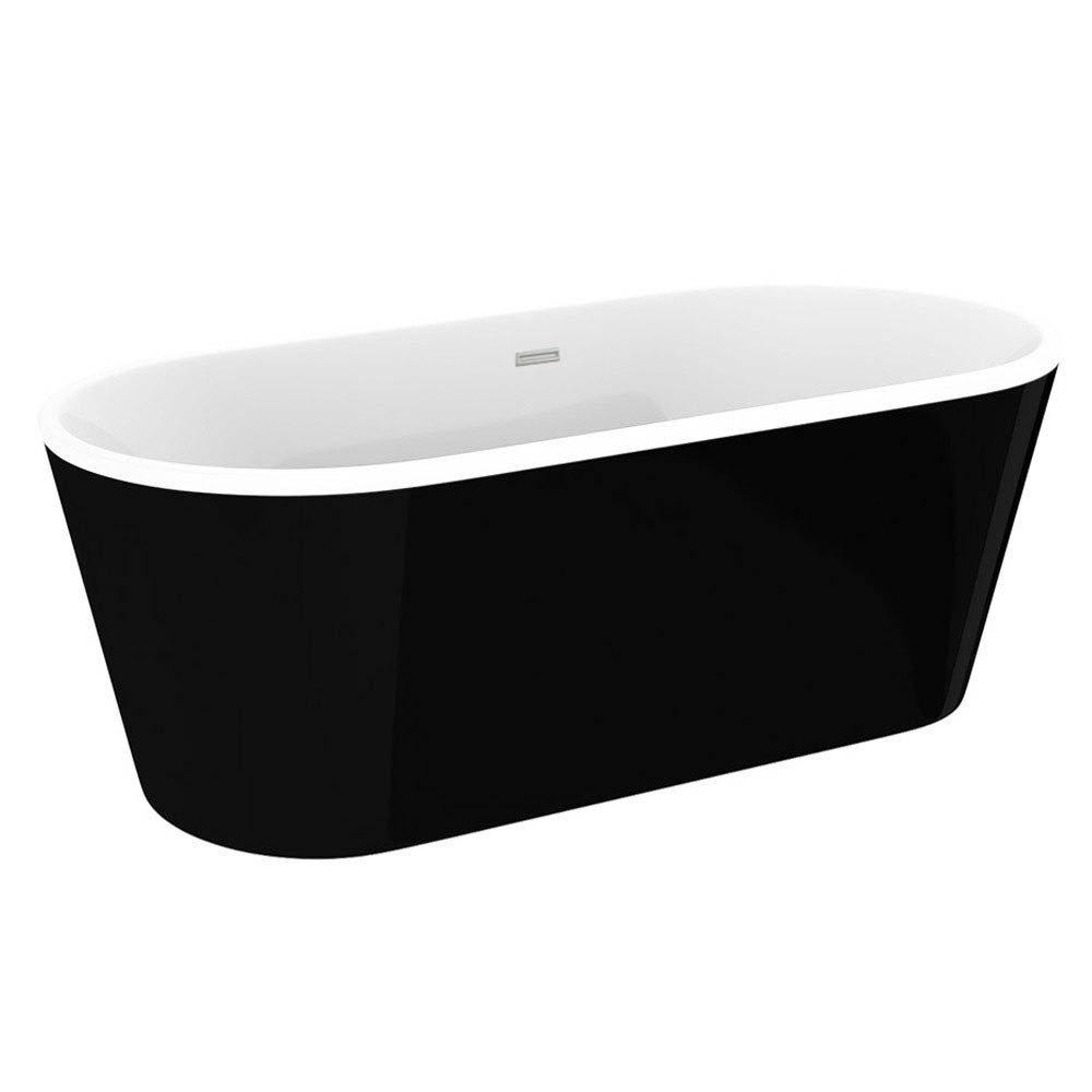 Windsor Imperial Black 1690 x 790mm Double Ended Freestanding Bath profile large image view 2