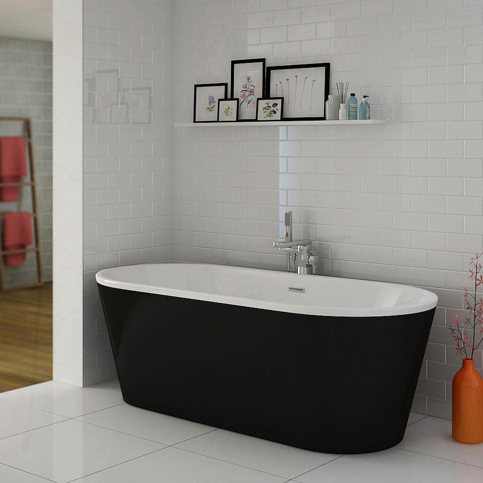 Windsor Imperial Black 1690 x 790mm Double Ended Freestanding Bath Large Image