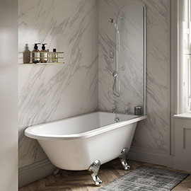 Old London Winterburn 1500 x 750 Single Ended Traditional Shower Bath with Chrome Leg Set