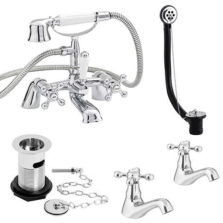 Nuie Traditional Viscount Bath Shower Mixer Pack - Chrome - X378