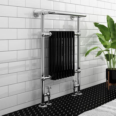 Aston Traditional Heated Towel Rail (Black & Chrome)