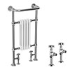 Traditional Mayfair Heated Towel Rail with Pair of Angled Crosshead Radiator Valves profile small image view 1