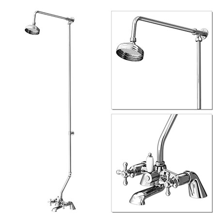 "Victoria Bath Shower Mixer with Rigid Riser Kit & 5"" Shower Head - Chrome"