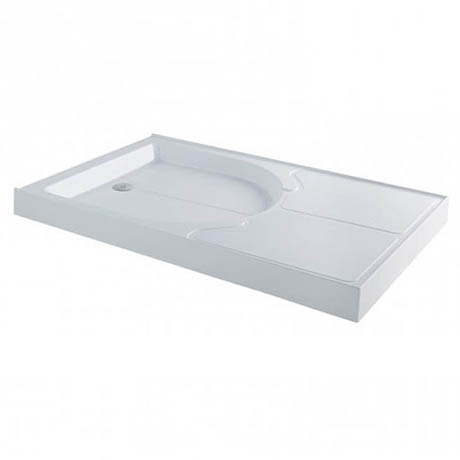MX Classic Flat Top Polyester Gel Coated Rectangular Stone Resin Shower Tray with Drying Area - 1400