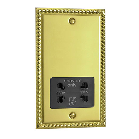 Georgian Brass Dual Voltage Shaver Socket with Black Insert - XGSSB