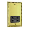Georgian Brass Dual Voltage Shaver Socket with Black Insert - XGSSB profile small image view 1