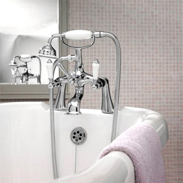 Ultra Bloomsbury Bath Shower Mixer with Extended Leg Set - Chrome Profile Large Image