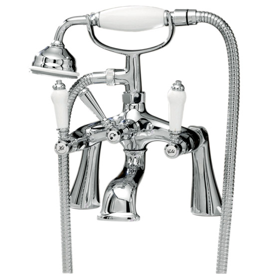 Ultra Traditional Bloomsbury Bath Shower Mixer + Shower Kit - Chrome - XM314 Large Image