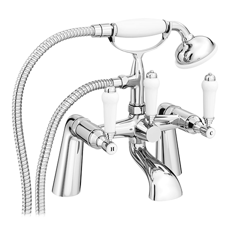 Nuie Traditional Bloomsbury Bath Shower Mixer & Shower Kit - Chrome - XM314