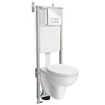 Wall Hung Toilet with Dual Flush Concealed WC Cistern + Wall Hung Frame Medium Image