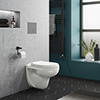 Wall Hung Toilet with Dual Flush Concealed WC Cistern + Wall Hung Frame profile small image view 1