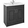 York Traditional Dark Grey Bathroom Basin Unit (1020 x 470mm) - 1 Tap Hole profile small image view 1