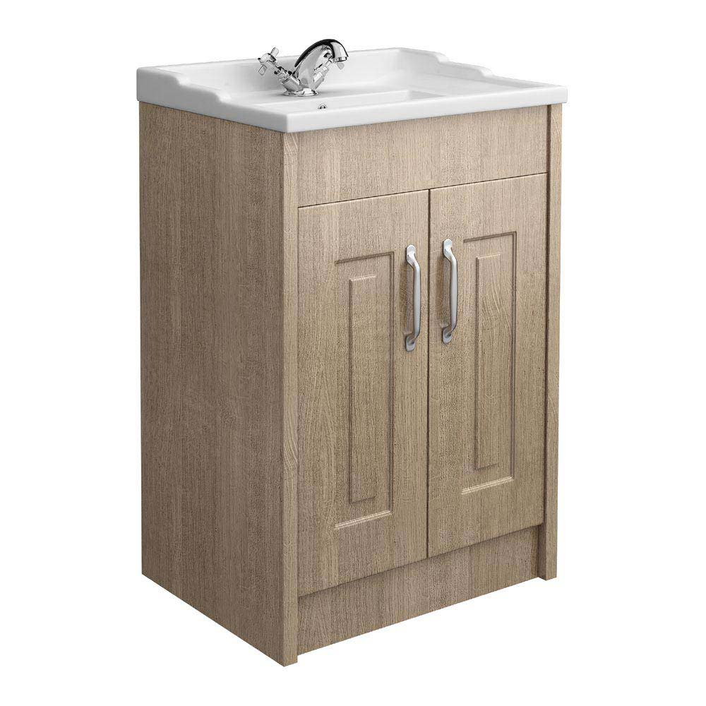 York Traditional Wood Finish Bathroom Basin Unit (600 x 460mm) profile large image view 1