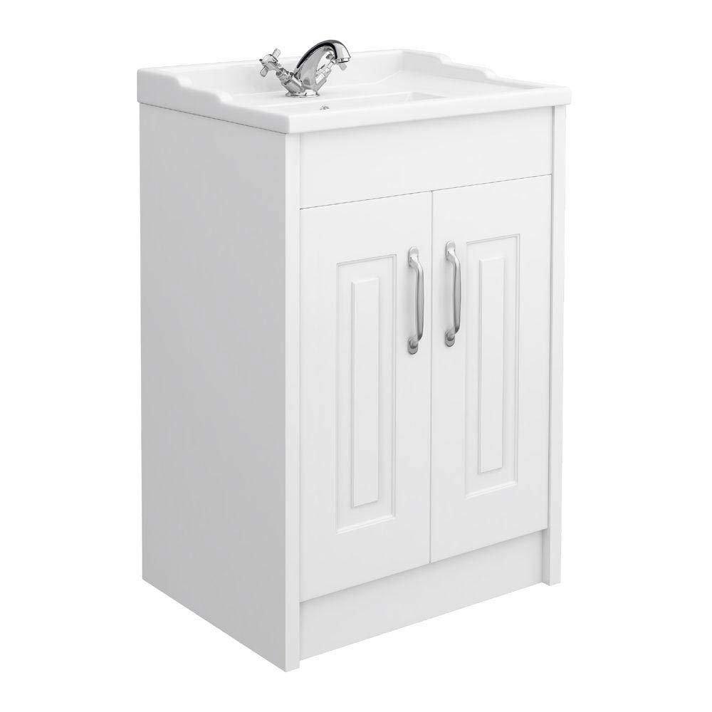 York Traditional White Bathroom Basin Unit (600 x 460mm) Large Image