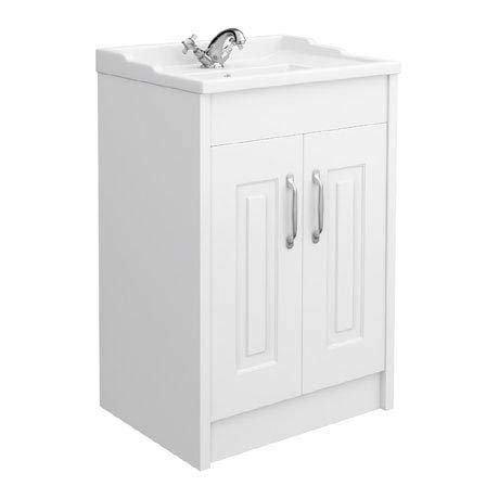 York Traditional White Bathroom Basin Unit (600 x 460mm)