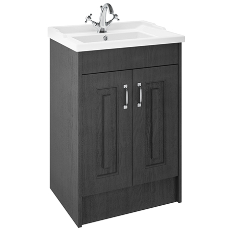 York Traditional Dark Grey Bathroom Basin Unit (620 x 470mm)