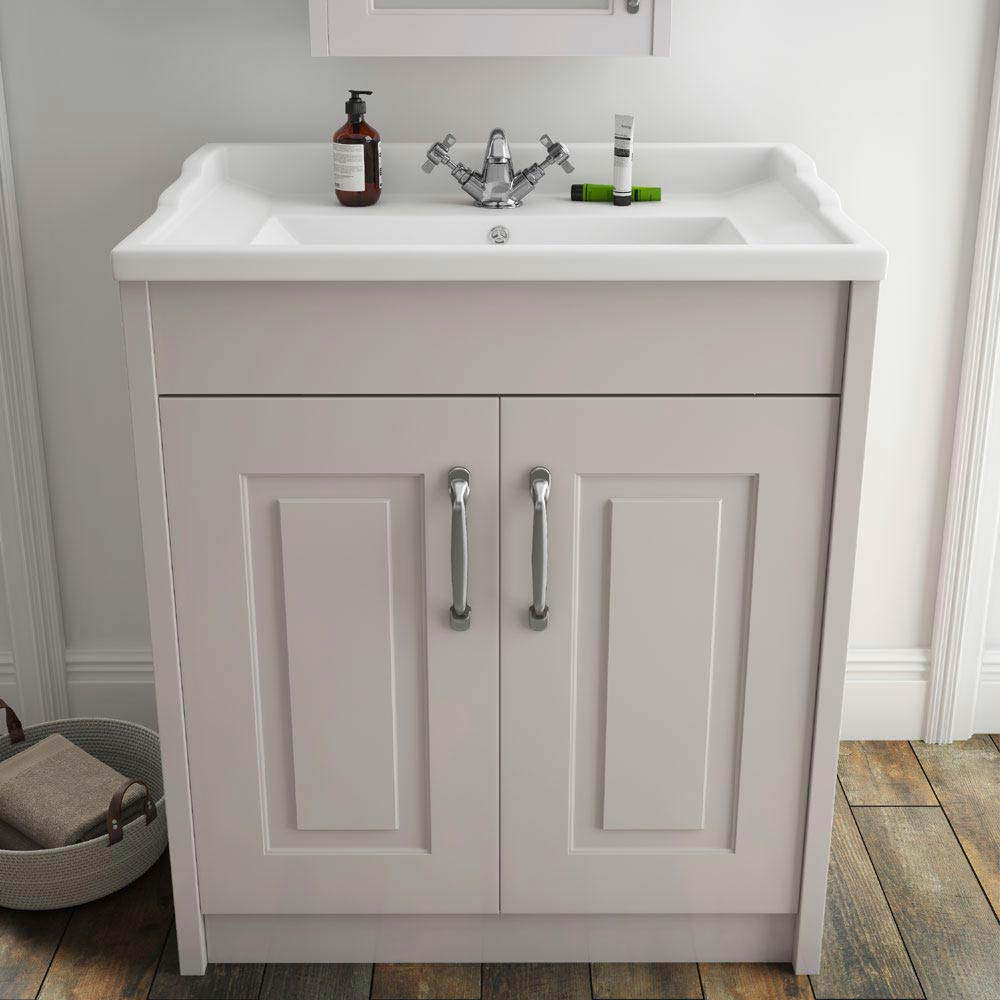 York Traditional Grey Bathroom Basin Unit (800 x 460mm)  Feature Large Image
