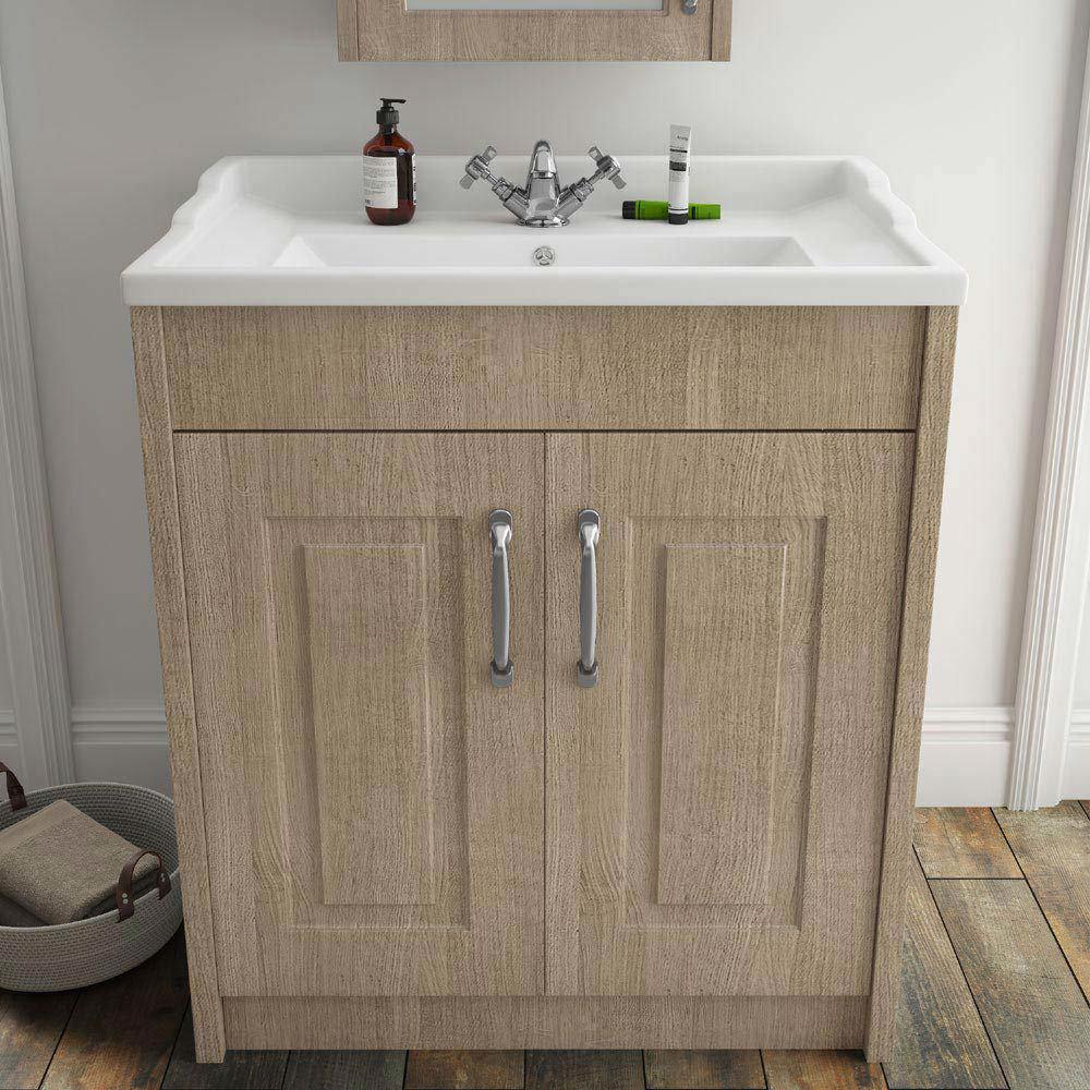 York Traditional Wood Finish Bathroom Basin Unit (800 x 460mm)  Profile Large Image