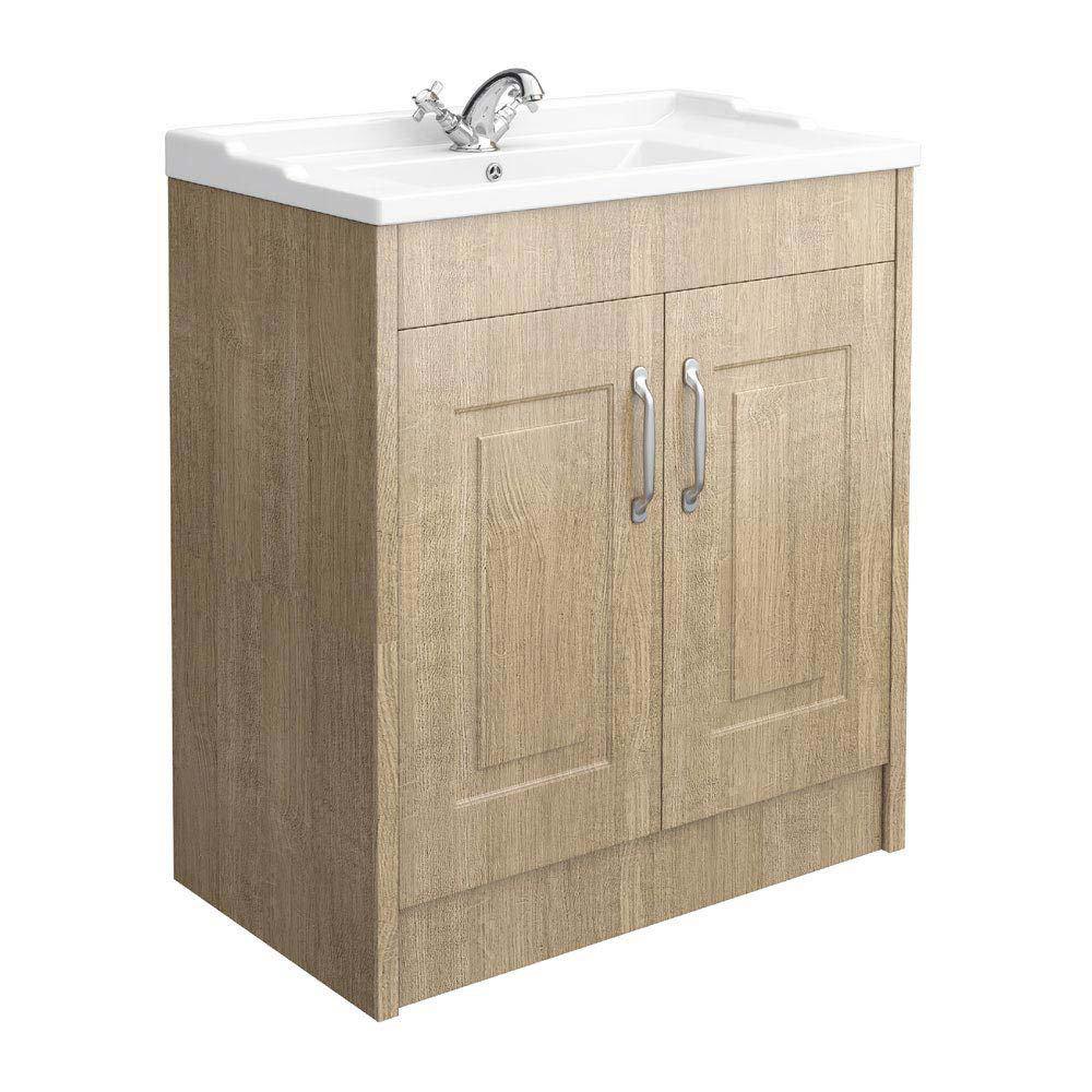 York Traditional Wood Finish Bathroom Basin Unit (800 x 460mm) Large Image
