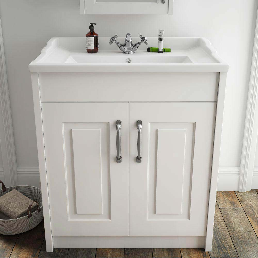 York Traditional White Bathroom Basin Unit (800 x 460mm)  Feature Large Image
