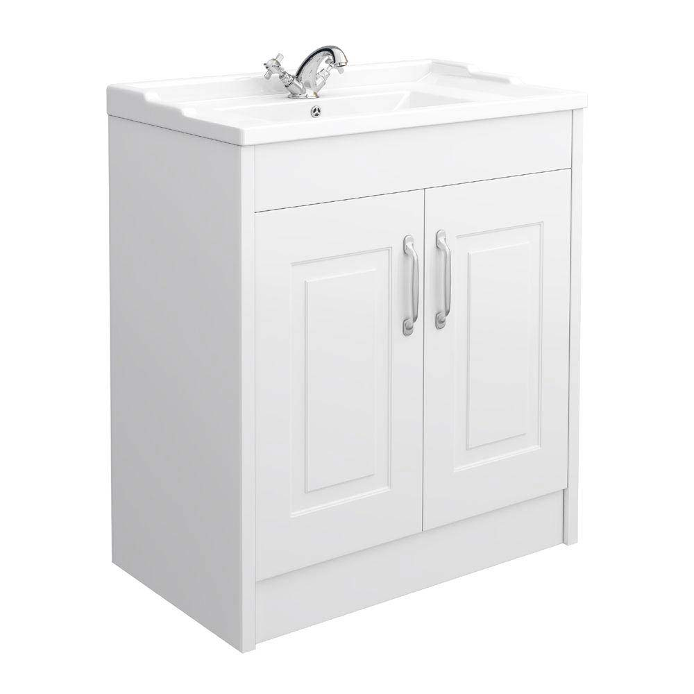 York Traditional White Bathroom Basin Unit (800 x 460mm) Large Image