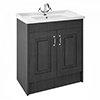 York Traditional Dark Grey Bathroom Basin Unit (820 x 480mm) profile small image view 1