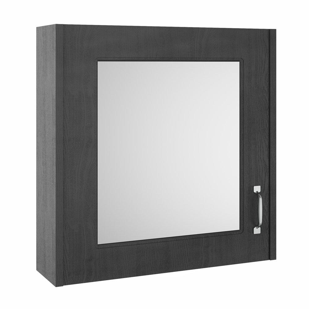 York Traditional Dark Grey 1 Door Mirror Cabinet (600 x 162mm)