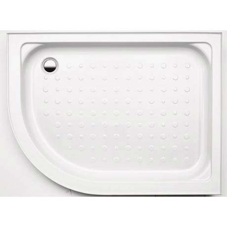 Coram Offset Quad Shower Tray with Upstands & Waste (1200 x 800mm - Right Hand) - YDQ128RWHI