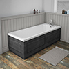 York 1700 x 700 Single Ended Bath inc. Dark Grey Panels profile small image view 1
