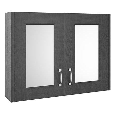 York Traditional Dark Grey 2 Door Mirror Cabinet (800 x 162mm)
