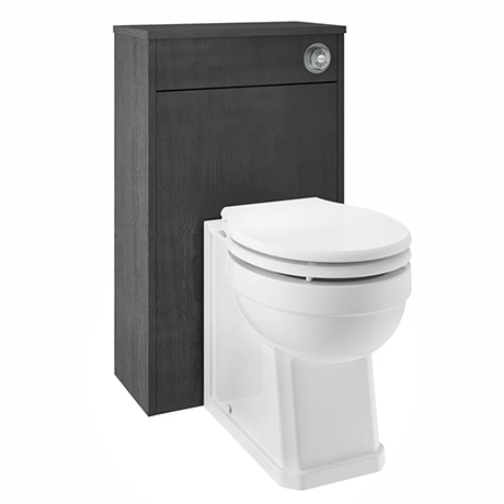 York Traditional Dark Grey BTW WC Unit with Pan & Top-Fixing Seat