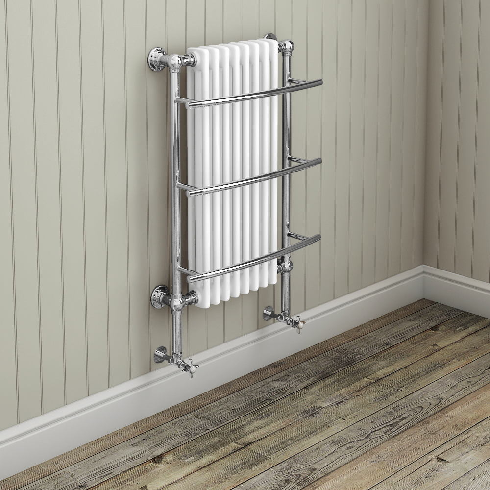 Yale Traditional Wall Hung Towel Rail Radiator (630 x 1000mm) Profile Large Image