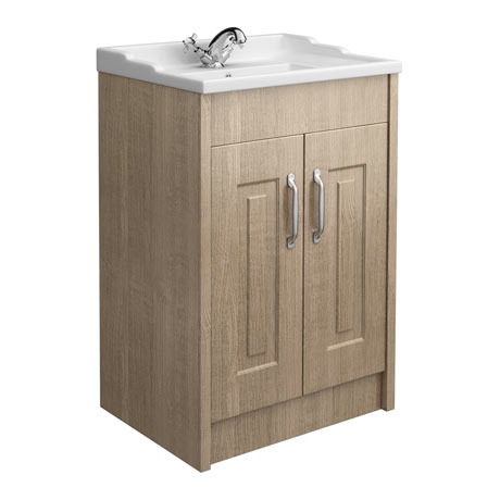 York Traditional Wood Finish Bathroom Basin Unit (600 x 460mm)