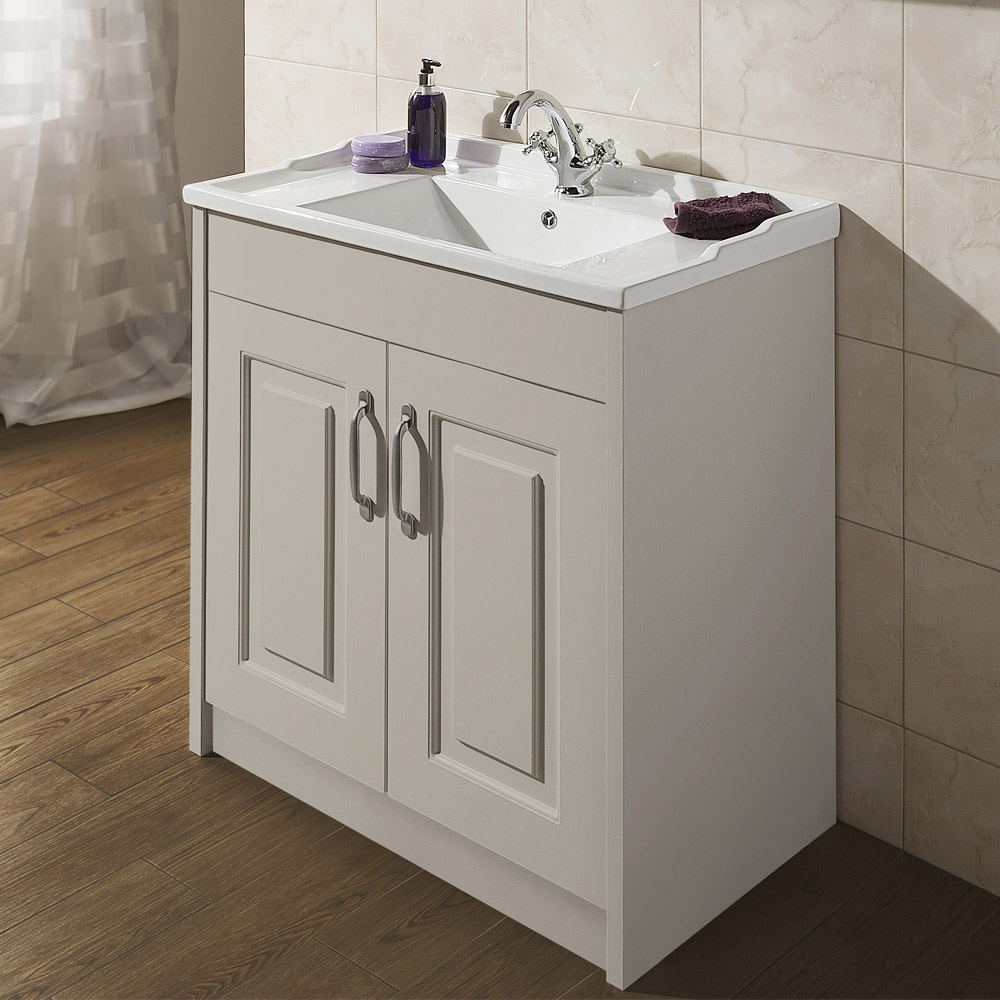 york traditional grey bathroom basin unit 800 x 460mm. Black Bedroom Furniture Sets. Home Design Ideas