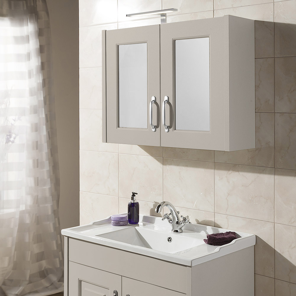 York Traditional Grey 2 Door Mirror Cabinet (800 x 162mm) profile large image view 2