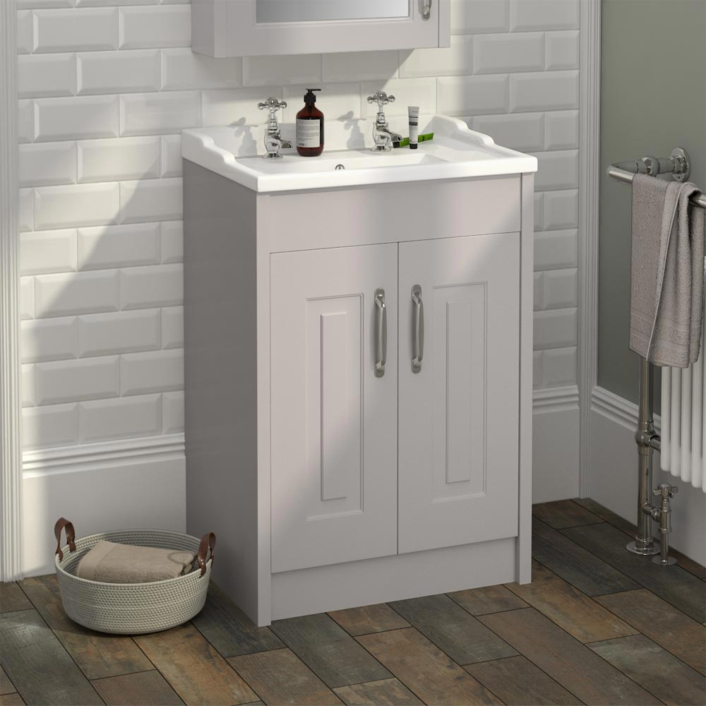 York Traditional Grey Bathroom Basin Unit (600 x 460mm)  Feature Large Image
