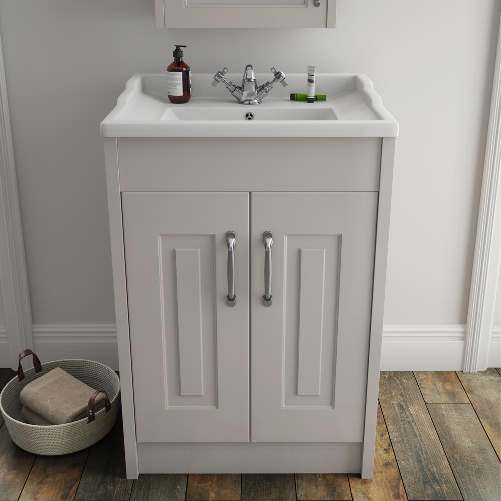 White Wood Under Sink Cabinet